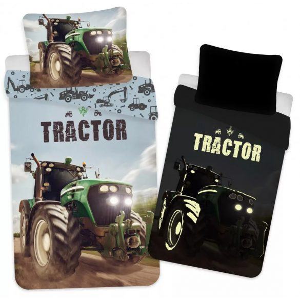 Traktor sötétben világító gyerek ágyneműhuzat 100×135cm, 40×60 cm