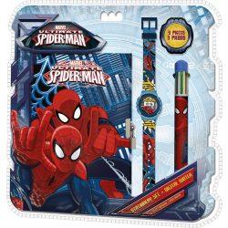 Napló + 6 színű toll + karóra Spiderman, Pókember