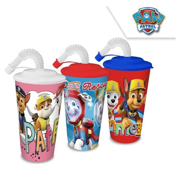 Mancs Őrjárat szívószálas műanyag pohár