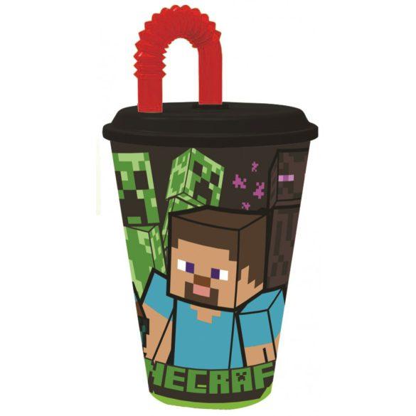 Minecraft Szívószálas pohár, műanyag 430 ml