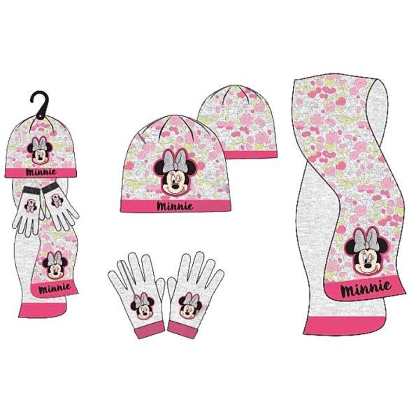 Disney Minnie Gyerek sapka + sál + kesztyű szett